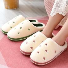 Apanzu indoor slippers warm winter women Fashion Fruit Warm Plush Home Slipper Anti-slip Soft Lovers Shoes Slides for women