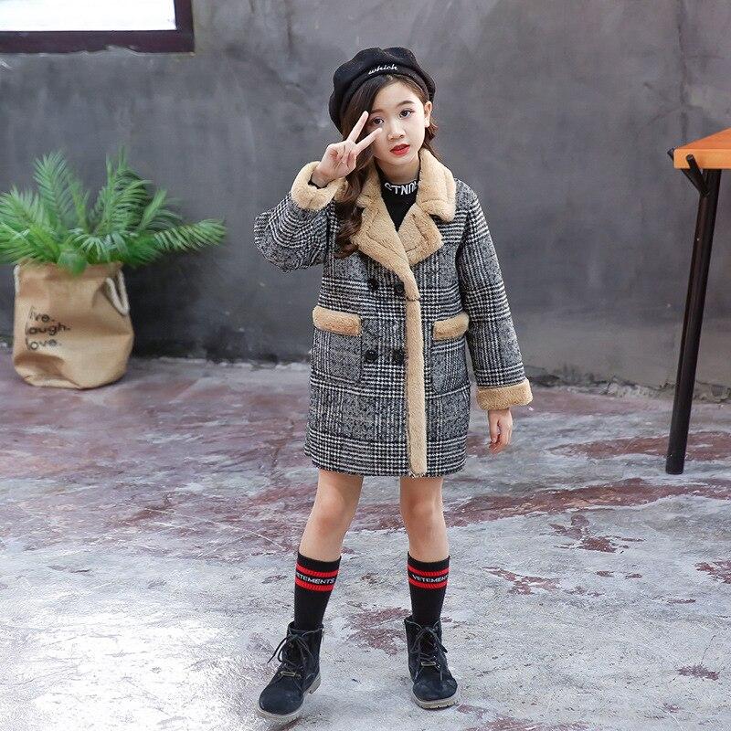 Image 3 - Girls Suede Coat Girls Long Warm Plaid Woolen Coat Heavy Weiht Kids Plus Velvet Thicken Overcoat Child Wadded Jacket-in Jackets & Coats from Mother & Kids