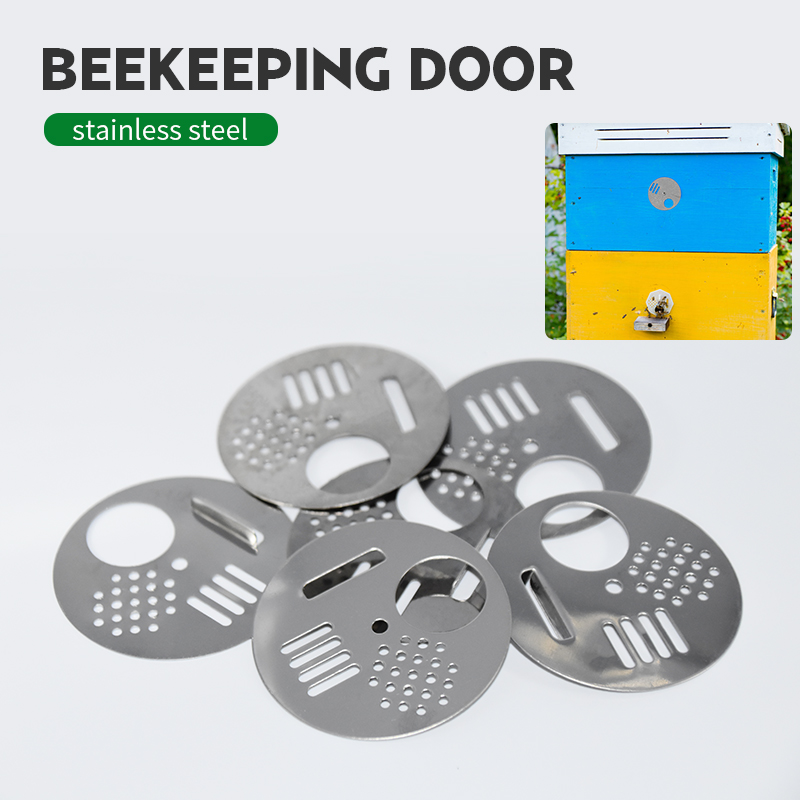 5Pcs Beehive Bee Box Door Cage Stainless Steel Round Hive Hole Beekeeping Nest Door Equipment Beekeeping Tools Supplies