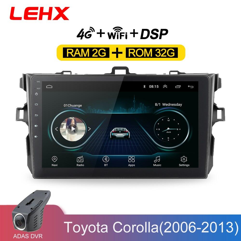 LEHX Car Radio Android 8,1 reproductor Multimedia para Toyota Corolla E140/150/2006, 2007-2009, 2010, 2011, 2012 2013 WIFI GPS de navegación