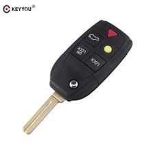 KEYYOU 10 Uds 5 botones Flip remoto clave Shell para Volvo XC70 XC90 V50 V70 S40 V40 V90 C70 S60 S80 S70 plegable clave coche caso