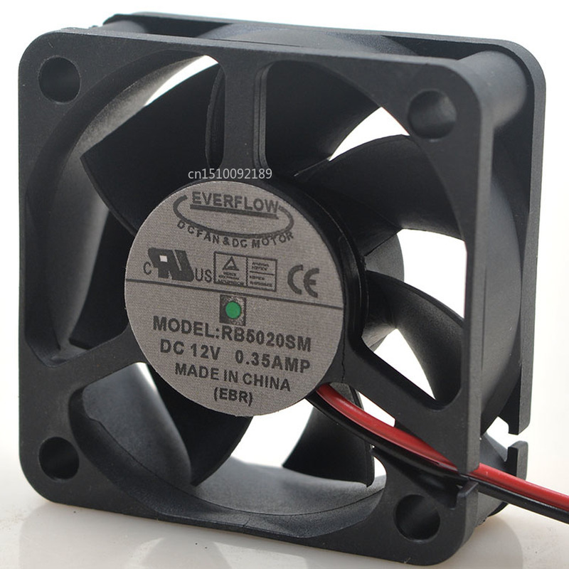 For RB5020SM Silent Cooling Fan DC 12V 0.35A 5020 5CM 50*50*20mm 2 Wires Free Shipping