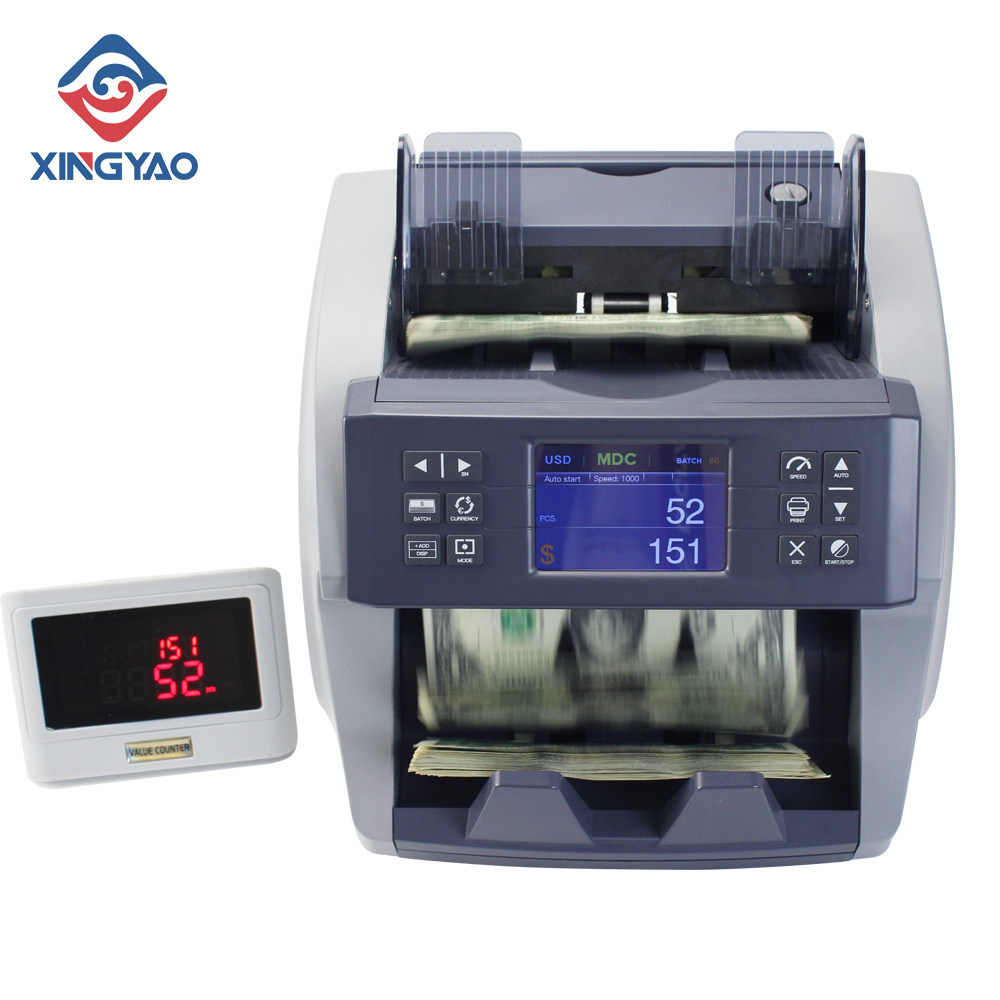 2 CIS Total Value Counter 6-12 Mix Billnotes Counting Machine  Fake Money Detector Currency Detecting Inteligient Money Counter