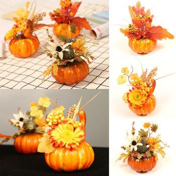 Simulación calabaza hoja de arce plantas artificiales Halloween otoño decoración del hogar