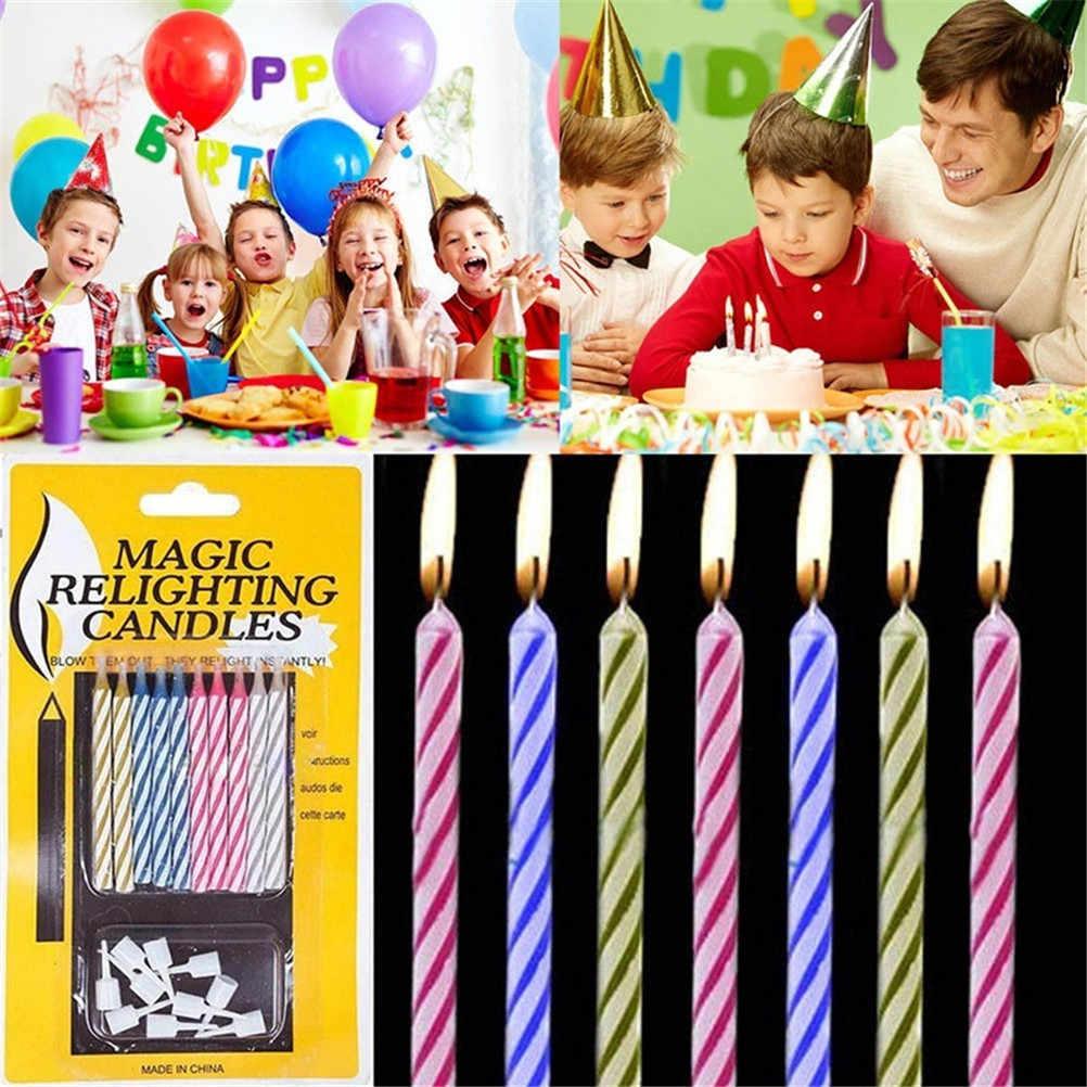 20 unids/pack velas de alivio de la magia divertido truco cumpleaños eterno soplado vela fiesta traviesa regalo niños cumpleaños divertido juguete