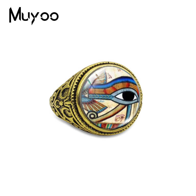 Vintage Horus Gozu Cam Boyama Cabochon Yuvarlak Misir Sanat Antika