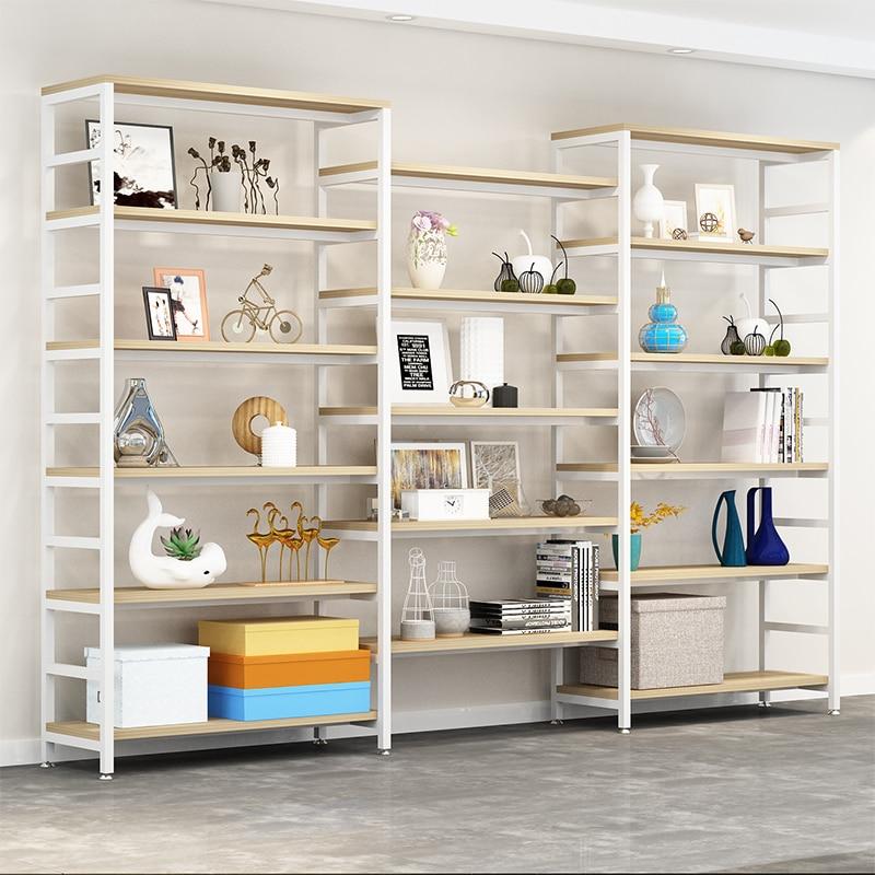 Einstellbare stahl holz bücherregal display regal boden wohnzimmer regal einfache multi stöckige regal. - 3