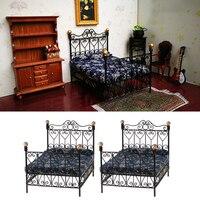 2Pcs 1:12 Metal Double Bed Dollhouse Miniature Furniture Bedroom