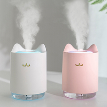 купить Ultrasonic Air Humidifier 320ml Mini Cat USB Aroma Diffuser With Romantic Night Light Hydration for Home Office Car air Purifier дешево