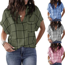 Spring and Summer New Fashion Women's Casual Loose Check Print Pocket V-Neck Short-Sleeved Plus Size Pullover T-Shirt for Girls