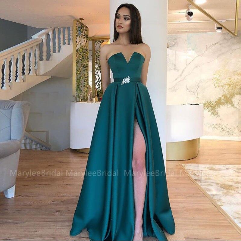 Superbe robe de bal vert foncé haute fente Sexy pleine longueur formelle robes de soirée diamants décorations ceinture vestido de fiesta de gala