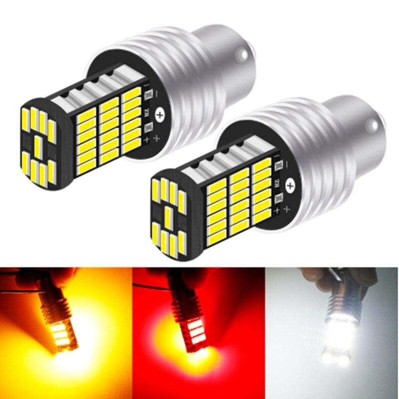 2pcs Car T20 7440 7443 LED Bulbs Canbus LED 1156 P21W BA15S PY21W BAU15S 1157 BAY15D 3157 Brake Reverse Light Turn Signal 12V