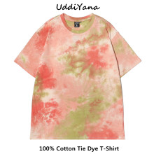 UddiYana 2021 Summer Fashion Women Tee Shirt Oversize Tie Dye Cotton T-Shirt Vintage Men's Harajuku Sweatshirt Clothes For Girls