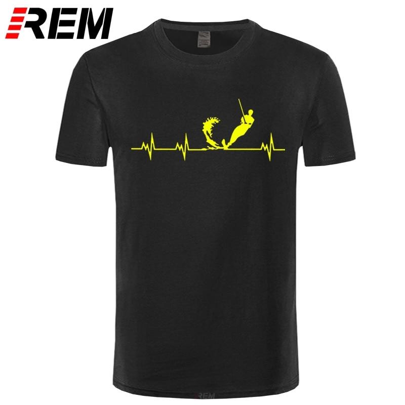 REM Men T-shirt Wakeboard T Shirts Short Sleeve Cotton Wakeboard Heartbeat T Shirt Fashion Men Clothing