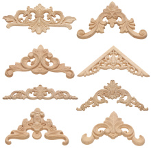 Figurines-Crafts Furniture Appliques-Frame Wood-Carving-Decorative Corner Wooden Unique