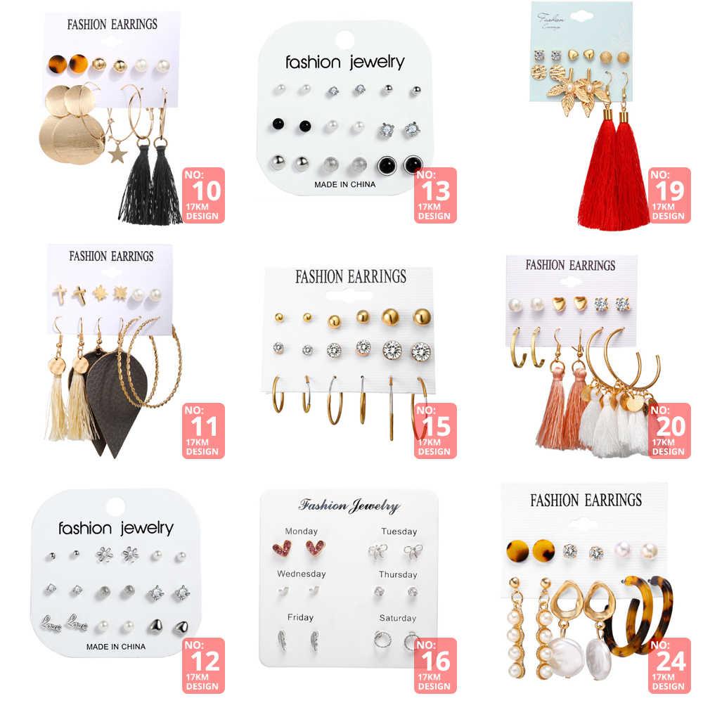 17Km Rumbai Akrilik Anting-Anting untuk Wanita Bohemian Anting Anting-Anting Besar Geometris Drop Anting-Anting 2019 Brincos Wanita DIY Fashion Perhiasan