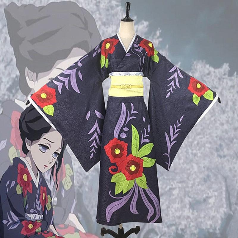 HISTOYE The Young Manga Kimetsu no Yaiba Demon Slayer Costume Tamayo Cosplay Clothing Kimono for Women Halloween Costume Party