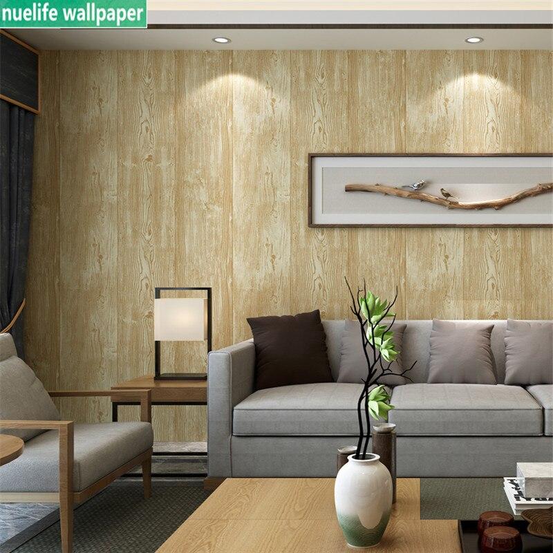 Nouveau chinois imitation bois grain sol motif papier peint boutique restaurant chambre salon canapé TV fond papier peint