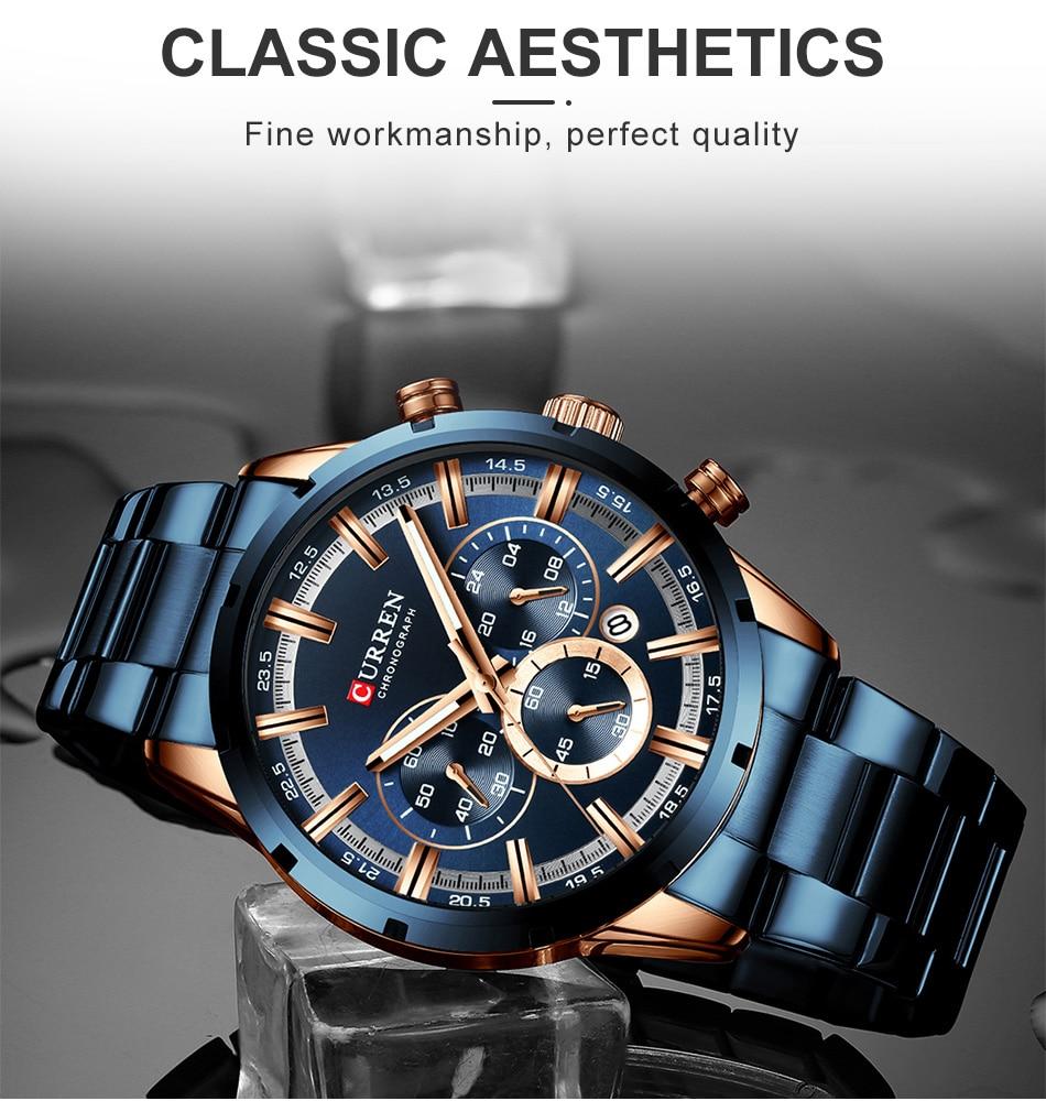 H5d036214c05340729a36ae32e88670619 CURREN Men Watch Top Brand Luxury Sports Quartz Mens Watches Full Steel Waterproof Chronograph Wristwatch Men Relogio Masculino