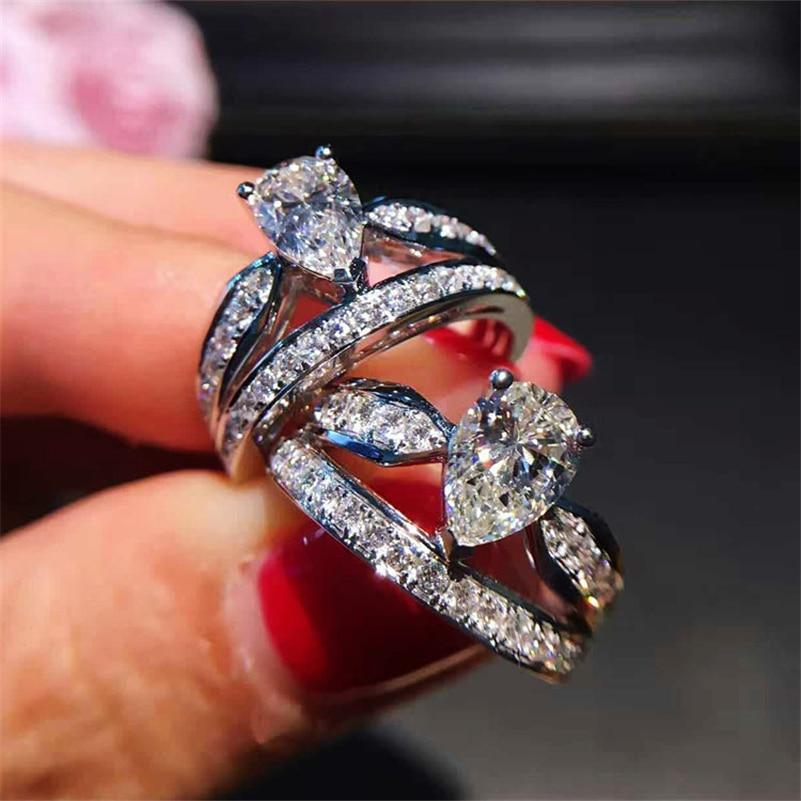 Stamp 925 Sliver Pear Shape Diamond Ring Women Jewelry Simulation Double Crown Bizuteria White Topaz 925 Silver Rings Gemstone