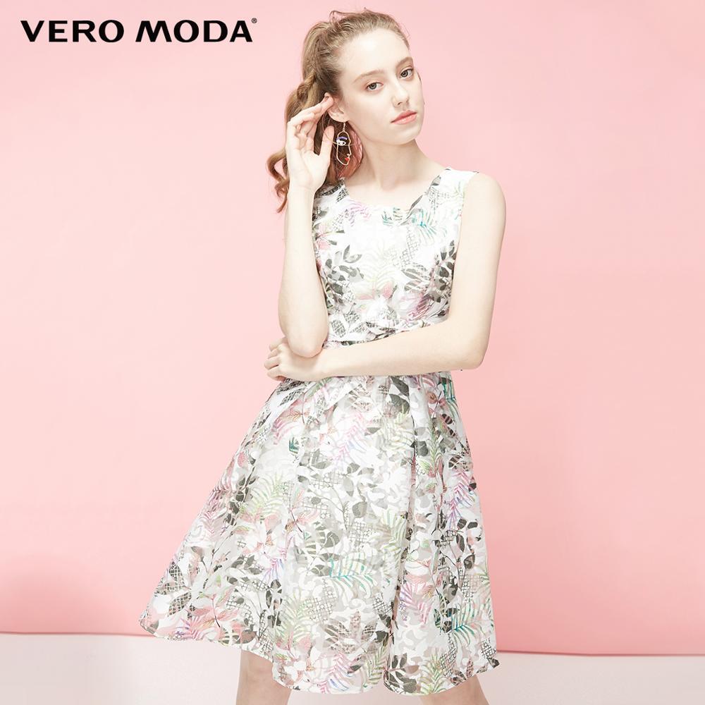 Vero Moda Women's Round Neckline Printed Mid-length Sleeveless Dress | 31927A517