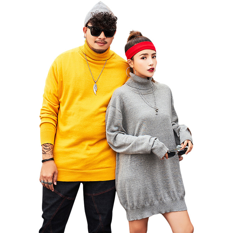 Color: Yellow Black Gray Large Size Men's High Neck Sweater Male Autumn New Plus Japanese Solid Color Bottoming Sweater
