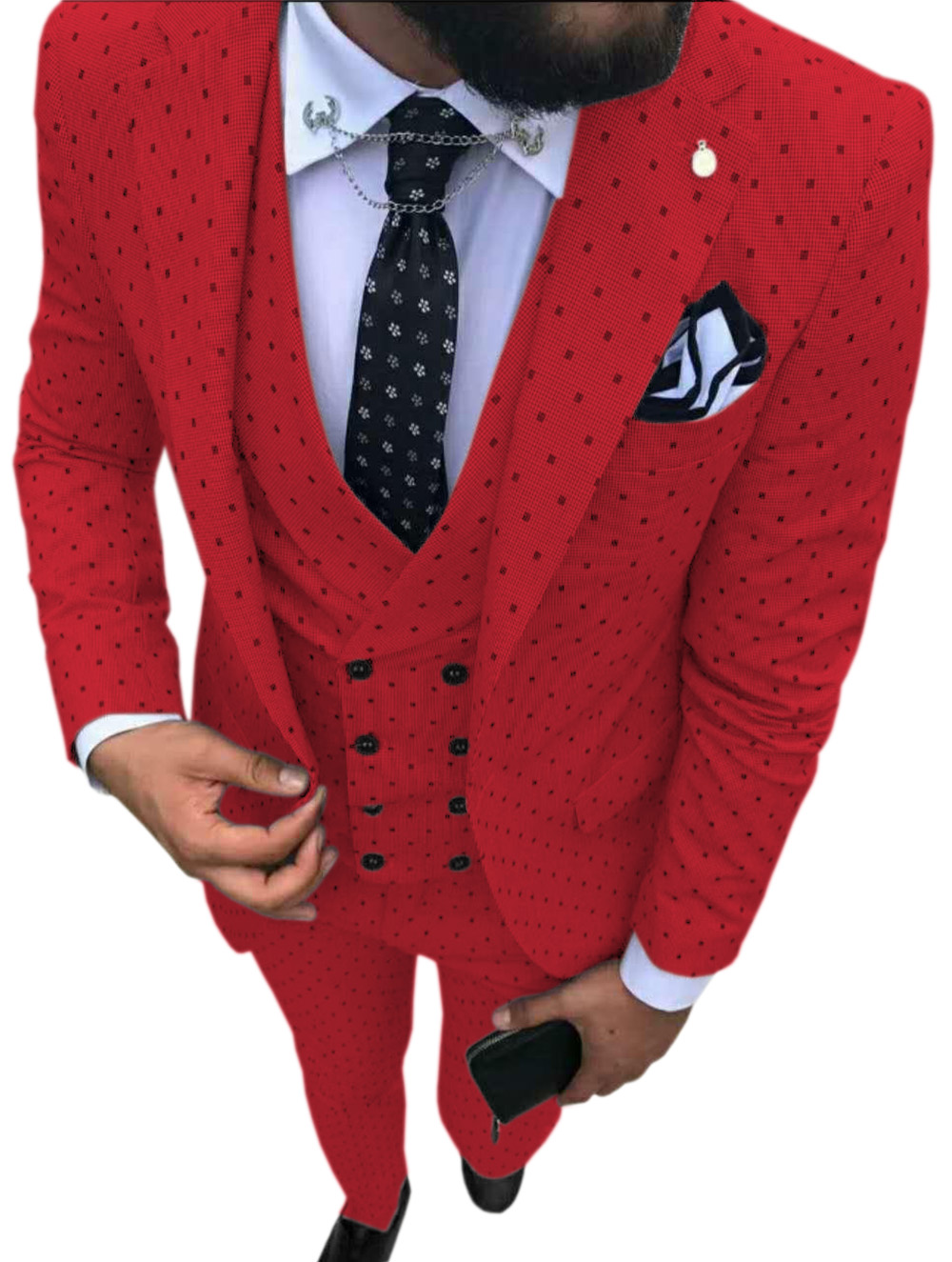 wedding : Mens suits Wave point Three Pieces Men Dress Suits Casual Commuter office business suits For Wedding Blazer Vest Pants