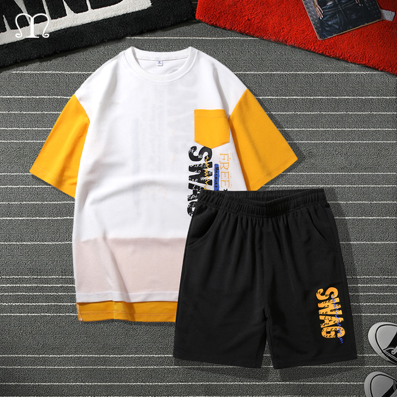 Men's Fashion Tracksuit Casual Brand Clothing Sportsuit Men Shorts Set Sportswear Male Hip Hop Short Sleeve Tee Shirt Shorts