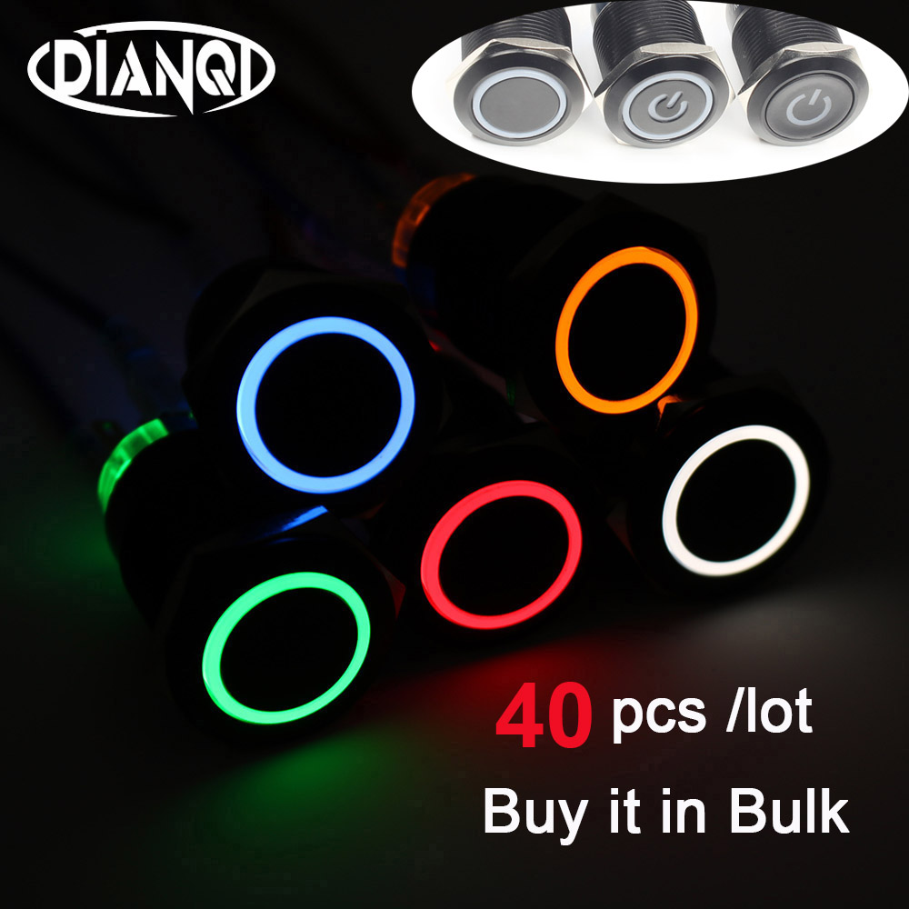 40pcs <font><b>19mm</b></font> press push button <font><b>switches</b></font> car <font><b>switches</b></font> Momentary/Latching 19HXDY.BK/19HX.BK <font><b>LED</b></font> Illumination power mark image