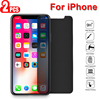 2 Pcs Half Anti Spy Tempered Glass Privacy Screen Protector for IPhone 12 Pro X XR XS 11 Max 6 6s 7 8 Plus Protective Film
