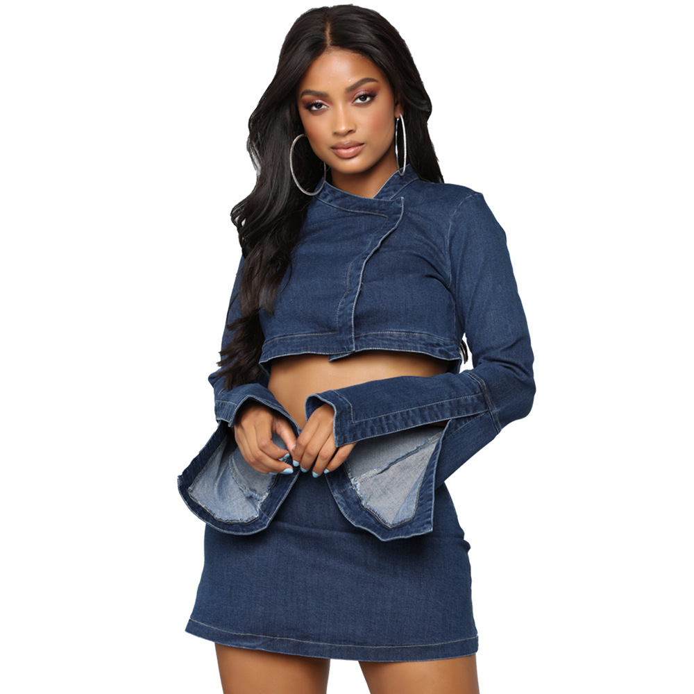 Echoine Denim Matching 2 Piece Set Long Flare Sleeve Crop Top And Mini Skirt Set Sexy Bodycon Women Two Piece Outfits Clothes
