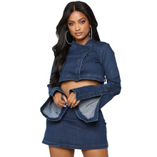 Echoine Denim Matching 2 Piece Set Long Flare Sleeve Crop Top and Mini Skirt Set Sexy Bodycon women two piece outfits clothes 2019 two piece set women crop top sexy off shoulder slim bodycon nigthclub pencil dress women long sleeve 2 piece outfits