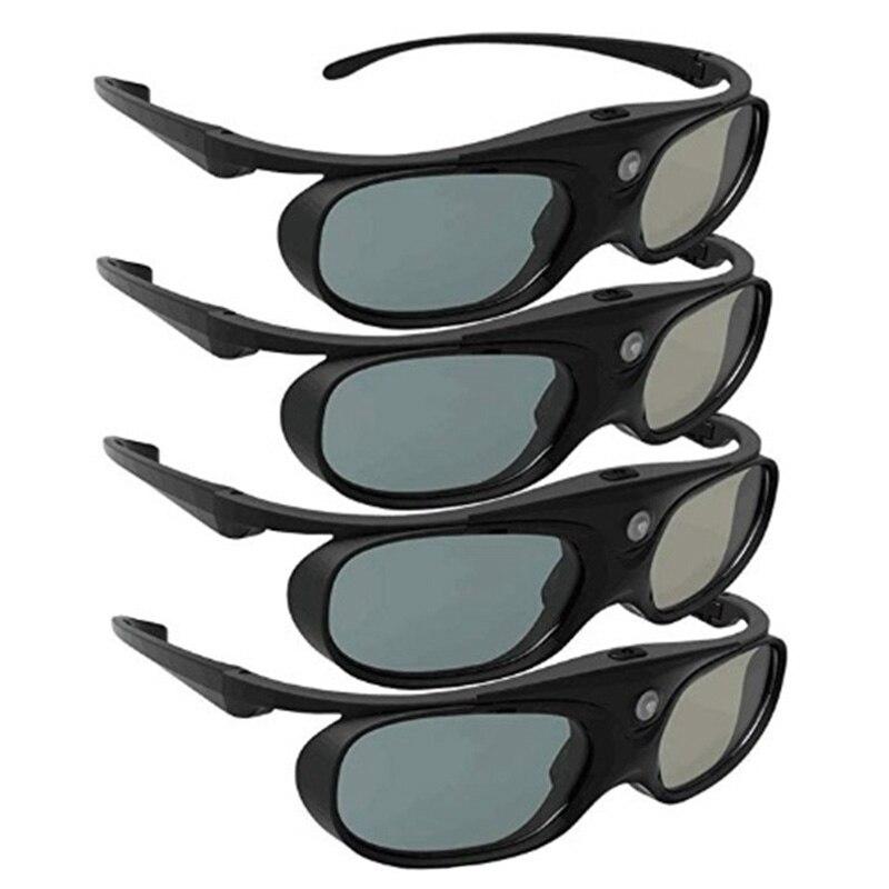4 шт Активные 3D очки для DLP Link совместимые 96-144 Гц с Optama/Acer/BenQ/ViewSonic/XGIMI DLP Link Проекторы