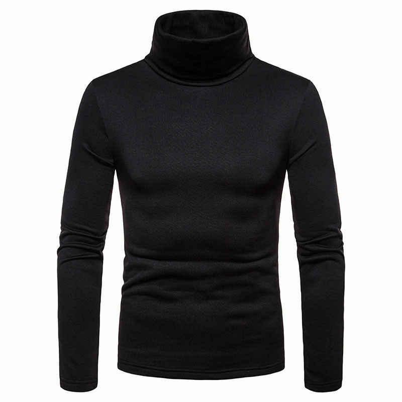 남성 겨울 따뜻한 긴 소매 높은 목 풀오버 스웨터 탑스 터틀넥