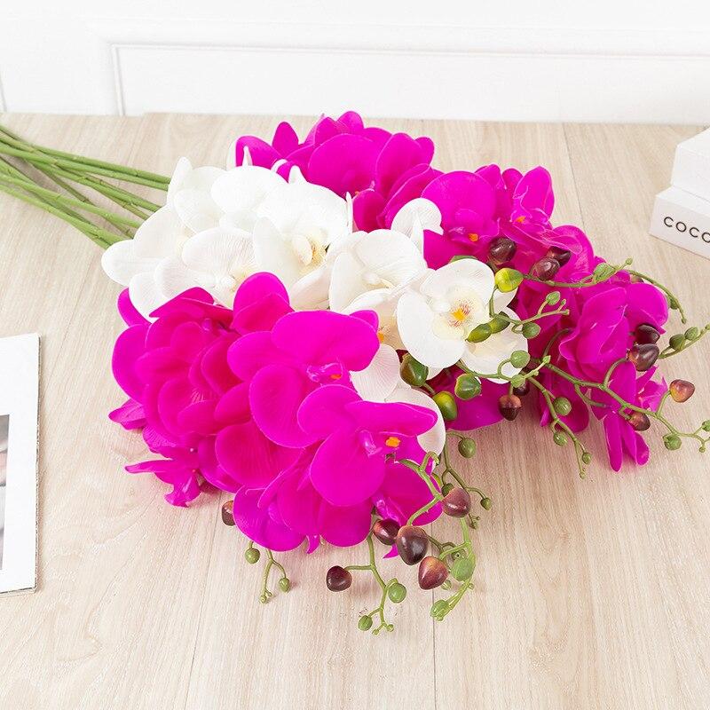 8 головок искусственный шелк Белая орхидея