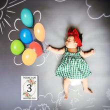 Месяц + наклейка + карточка + новорожденный + ребенок + веха + одеяло + одеяло + месяц + фотография + женщина + беременная + D7B8