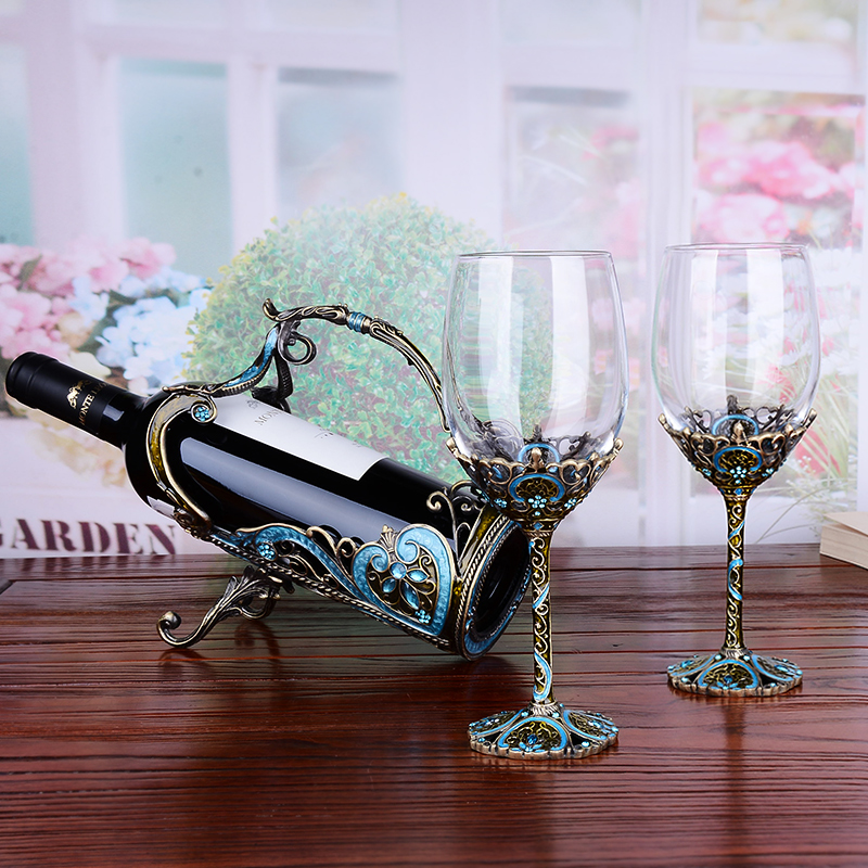 Enamel Metal Red Wine Glass Decanter Set Crystal Goblet Wine Cup Creative Lettering Set Gourd Bottles - 3