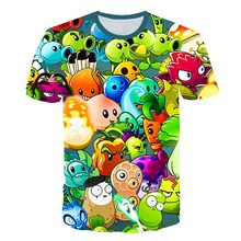 2021 verão crianças 3d t camisas plantas vs zombies guerras meninos/meninas roupas desenho animado jogo padrão crianças o-pescoço camiseta 4t-14t