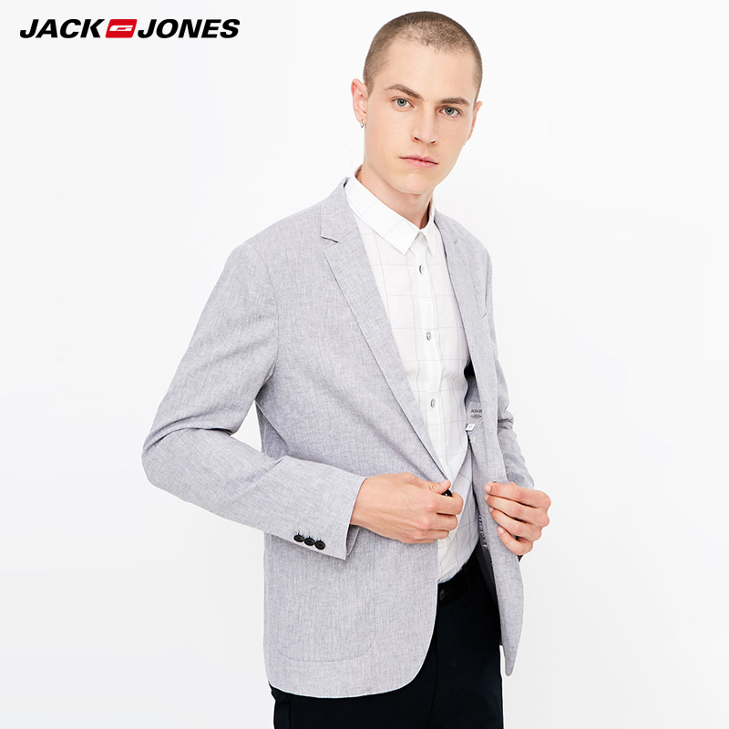 Jack  Jones  Mens Business Cotton And Linen Jacket Blazer | 218308506