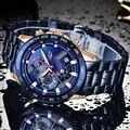 LIGE, мужские часы, лучший бренд, Роскошные, синие, все стали, наручные часы, хронограф, армейские, военные, водонепроницаемые, кварцевые часы, ...
