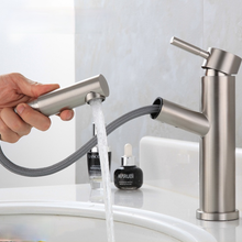 1Pc Pull Out Basin Faucet Bathroom Sink Faucet Single Handle Hot Cold Water Tap Deck Mount Waterfall Bathroom Faucet