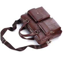 Men Travel Handbag Brand Men's Genuine Leather Bag 14 inch Computer/Office