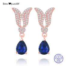 цена на Shipei 100% 925 Sterling Silver Personalized Rose Gold Sapphire Emerald Ruby Wings Water Drop Earrings for Women Birthday Gift