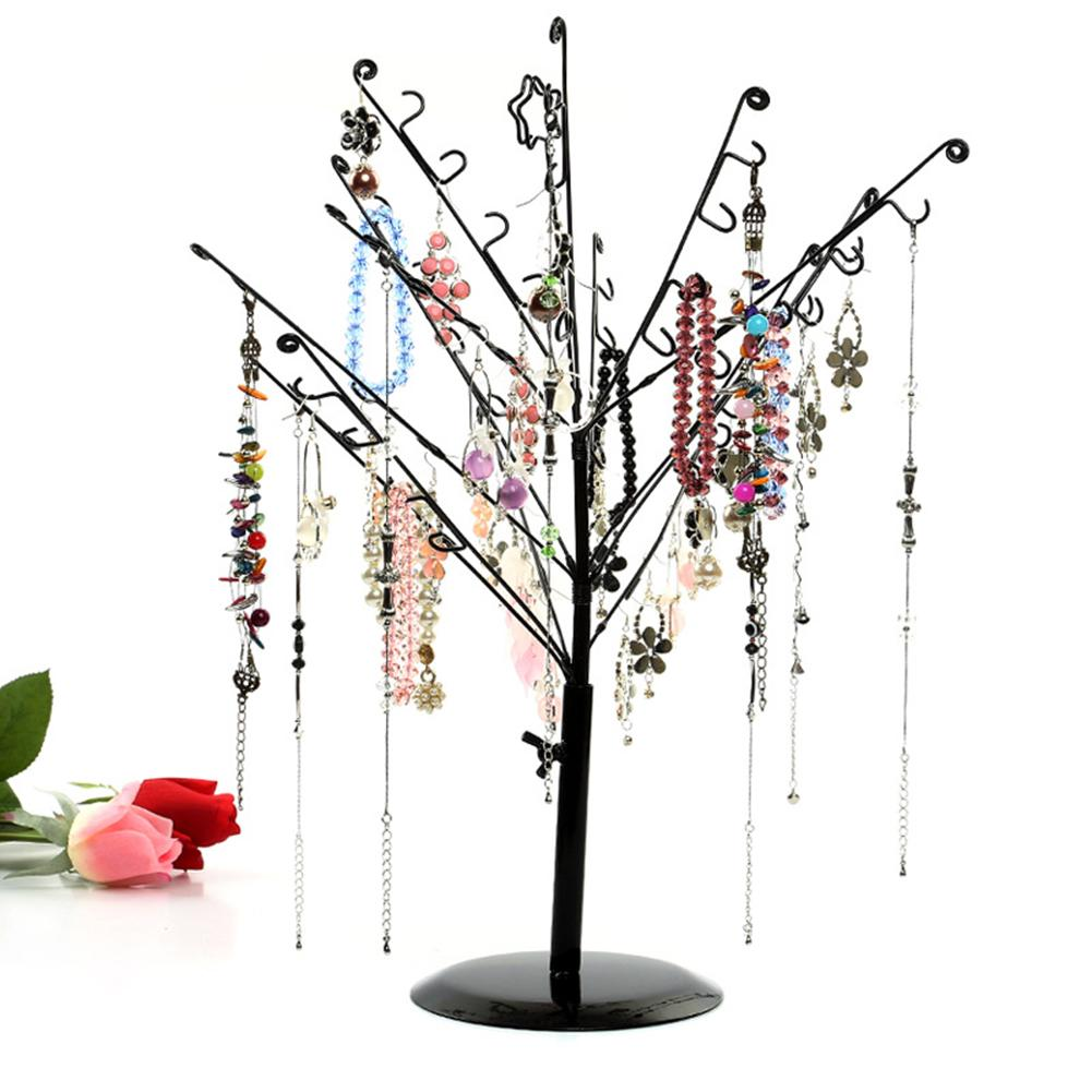 Fashion Tree Jewelry Display Stand Earrings Necklaces Bracelets Rack Holder Iron, Paint Detachable Jewelry Stand Durable Setting