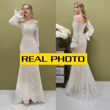 Vintage de manga larga de encaje boho CHAMPAGNE vestido de novia vestidos de novia foto real precio de fábrica