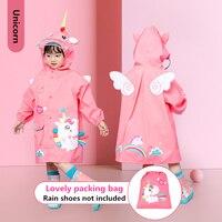 Kinder Verdicken Wasserdichte Regenbekleidung Kinder 3D Solide Druck Regen Mantel Einhorn, Dinosaurier Regenmantel Für Mädchen Jungen Wasserdichte Poncho