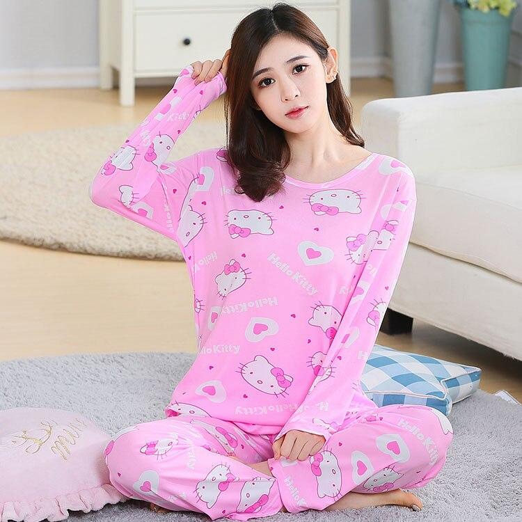 Autumn Winter New Long Sleeve Women Pajamas Set Round Neck Cartoon Cat Kitty Print Sleepwear Female 2 Piece Winter Pajama Set
