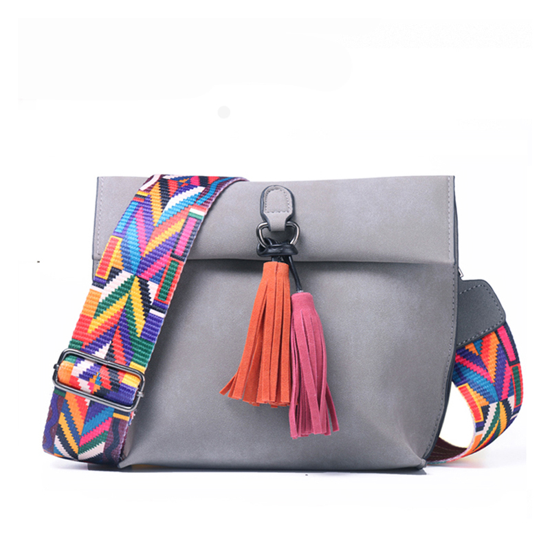 Women Messenger Bag Crossbody Bag Tassel Shoulder Bags Female Designer Handbags Women Bags With Colorful Strap