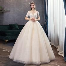 קלאסי שמפניה פשוט יוקרה 2021 חדש חתונת שמלה סקסי אשליה תחרה רקמה בתוספת גודל הכלה שמלת Robe דה Mariee L