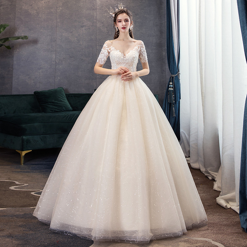 Classic Champagne Simple Luxury 2019 New Wedding Dress Sexy Illusion Lace Embroidery Plus Size Bride Gown Robe De Mariee L